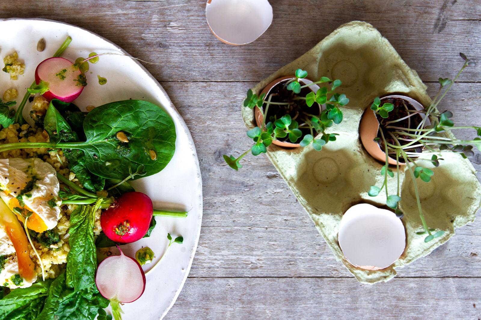 Spinatsalat! Glutenfrei und einfach zubereitet. Mit Hirse, Radieschenblatt-Gremolata, pochiertem Ei. Perfekt für den Gründonnerstag oder für den Osterbrunch. Ein bewusster Vitaminspender.